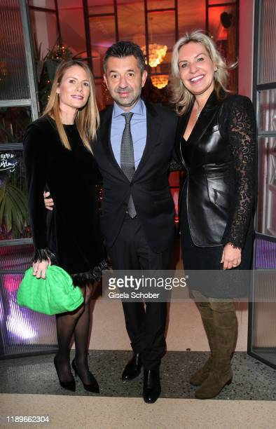 Sokrates Dimitriou Real Eyes and his wife Sophia Fuechsl and Saskia GreiplKostantinidis during the annual christmas roast kid dinner at Reitschule on...