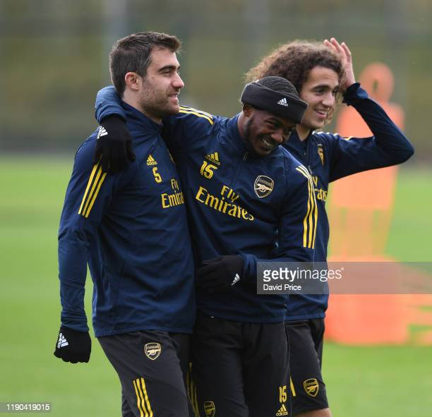 Sokratis and Ainsley Maitland-Niles of Arsenal during Arsenal Training Session at London Colney on November 27, 2019 in St Albans, England.