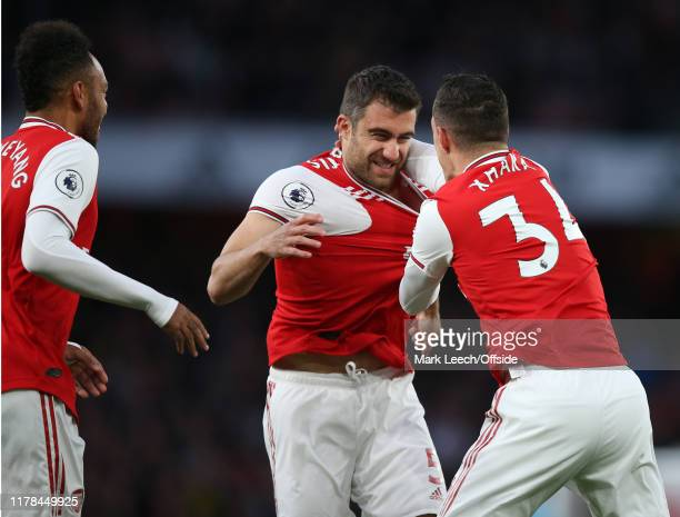 Sokratis and Granit Xhaka of Arsenal celebrate the opening goal during the Premier League match between Arsenal FC and Crystal Palace at Emirates...