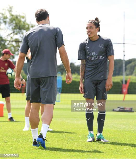 Sokratis and Hector Bellerin of Arsenal during a training session at London Colney on July 17 2018 in St Albans England