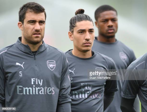 Sokratis and Hector Bellerin of Arsenal during a training session at London Colney on July 11 2018 in St Albans England