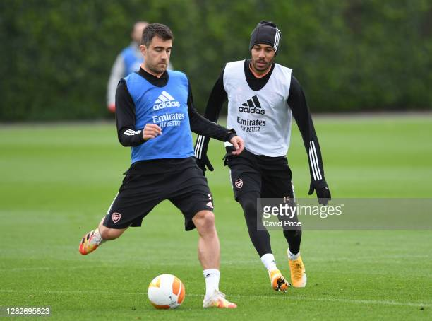 Sokratis and PierreEmerick Aubameyang of Arsenal during the Arsenal training session ahead of the UEFA Europa League Group B stage match between...