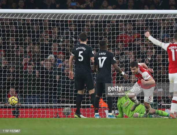 Sokratis of Arsenal celebrates after scoring the second goal during the Premier League match between Arsenal FC and Manchester United at Emirates...