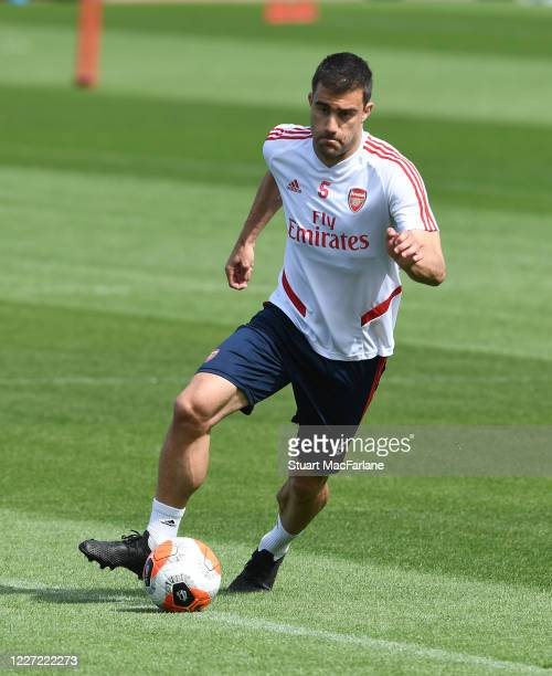 Sokratis of Arsenal during a training session at London Colney on May 26 2020 in St Albans England