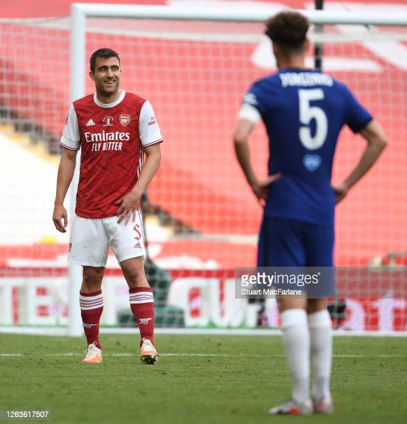 Sokratis of Arsenal during the FA Cup Final match between Arsenal and Chelsea at Wembley Stadium on August 01 2020 in London England Football...