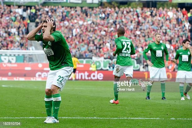 Sokratis of Bremen frustration during the 1 Bundesliga match between Hannover 96 and Werder Bremen at AWD Arena on September 15 2012 in Hannover...