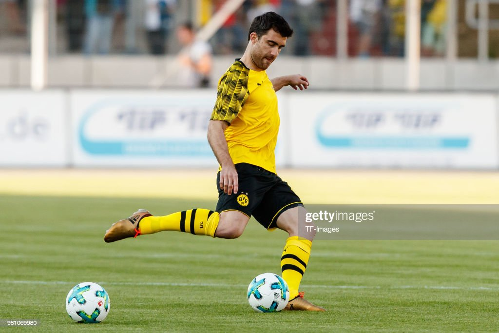Sokratis of Dortmund controls the ball during the Friendly Match match between FSV Zwickau and Borussia Dortmund at Stadion Zwickau on May 14, 2018 in Zwickau, Germany.