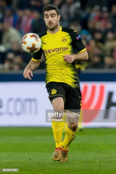 Sokratis of Dortmund controls the ball during UEFA Europa League Round of 16 second leg match between FC Red Bull Salzburg and Borussia Dortmund at...