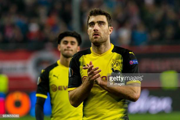 Sokratis of Dortmund looks dejected after UEFA Europa League Round of 16 second leg match between FC Red Bull Salzburg and Borussia Dortmund at the...
