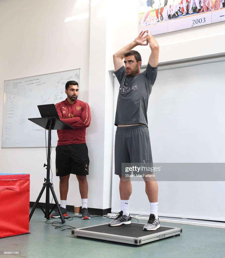 Sokratis Papastathopolus of Arsenal attends a medical screening session at London Colney on July 3, 2018 in St Albans, England.