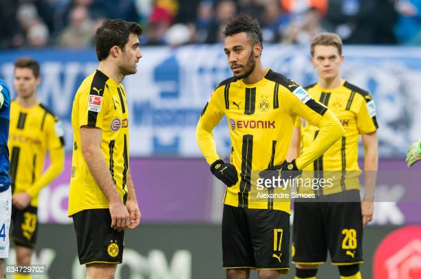 Sokratis Papastathopoulos and PierreEmerick Aubameyang of Borussia Dortmund in action during the Bundesliga match between SV Darmstadt 98 and...