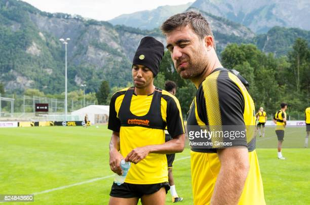 Sokratis Papastathopoulos and PierreEmerick Aubameyang of Borussia Dortmund during a training session as part of the training camp on July 31 2017 in...