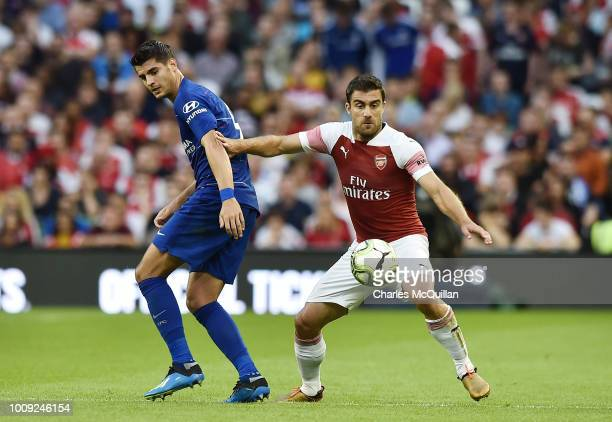 Sokratis Papastathopoulos of Arsenal and Alvaro Morata of Chelsea during the Preseason friendly International Champions Cup game between Arsenal and...