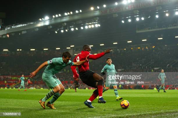 Sokratis Papastathopoulos of Arsenal and Romelu Lukaku of Manchester United during the Premier League match between Manchester United and Arsenal FC...