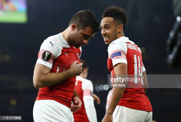 Sokratis Papastathopoulos of Arsenal celebrates after scoring his team's third goal with PierreEmerick Aubameyang of Arsenal during the UEFA Europa...