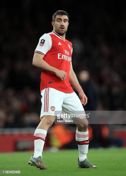 Sokratis Papastathopoulos of Arsenal during the FA Cup Third Round match between Arsenal and Leeds United at Emirates Stadium on January 6 2020 in...