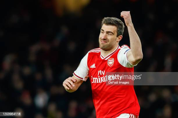 Sokratis Papastathopoulos of Arsenal FC gestures during the UEFA Europa League round of 32 second leg match between Arsenal FC and Olympiacos FC at...