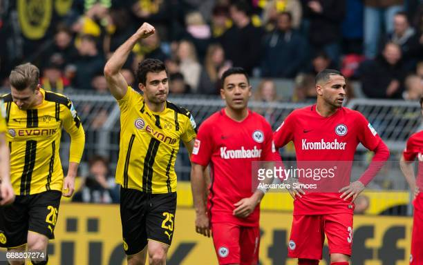 Sokratis Papastathopoulos of Borussia Dortmund celebrates after scoring the goal to the 21 during the Bundesliga match between Borussia Dortmund and...