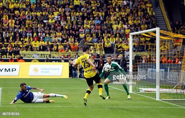 Sokratis Papastathopoulos of Borussia Dortmund in action during Bundesliga soccer match between Borussia Dortmund and SV Darmstadt 98 at the...