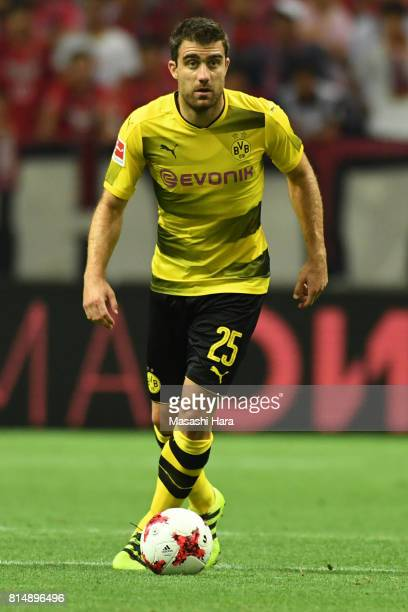 Sokratis Papastathopoulos of Borussia Dortmund in action during the preseason friendly match between Urawa Red Diamonds and Borussia Dortmund at...