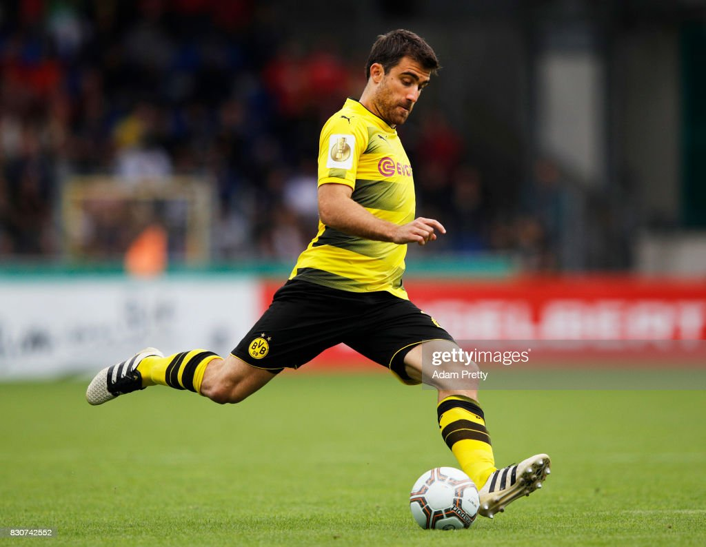 Sokratis Papastathopoulos of Borussia Dortmund in action during the DFB Cup match between 1. FC Rielasingen-Arlen and Borussia Dortmund at Schwarzwald-Stadion on August 12, 2017 in Freiburg im Breisgau, Germany.