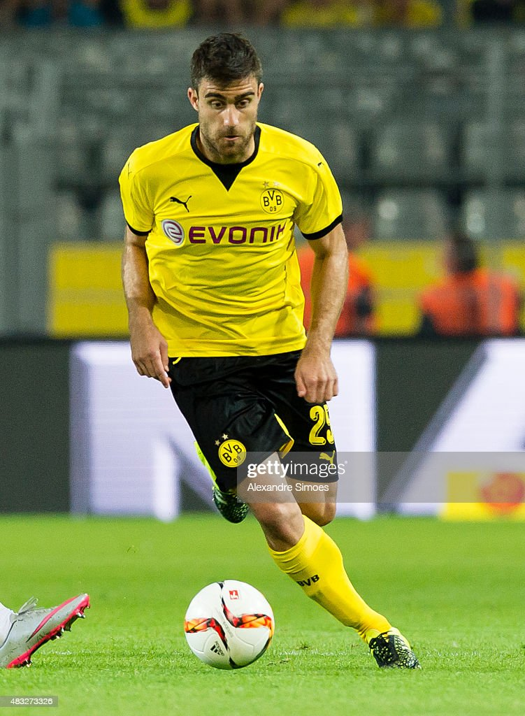 Sokratis Papastathopoulos of Borussia Dortmund runs with the ball during the UEFA Europa League: Third Qualifying Round 2nd Leg match between Borussia Dortmund and Wolfsberg at Signal Iduna Park on August 06, 2015 in Dortmund, Germany.