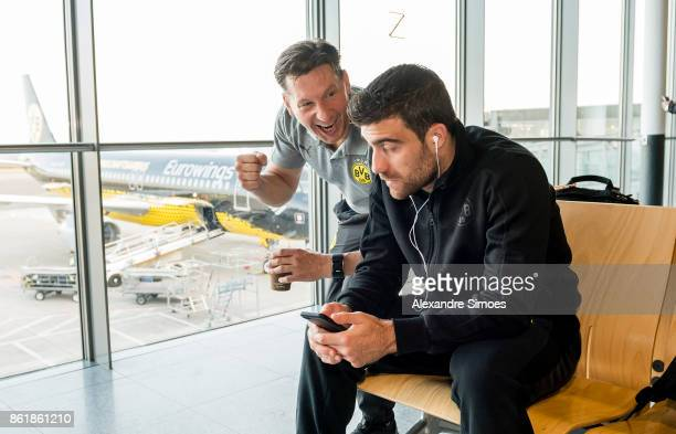 Sokratis Papastathopoulos of Borussia Dortmund together with athletic coach Andreas Beck before flying to Nicosia for the UEFA Champions League First...