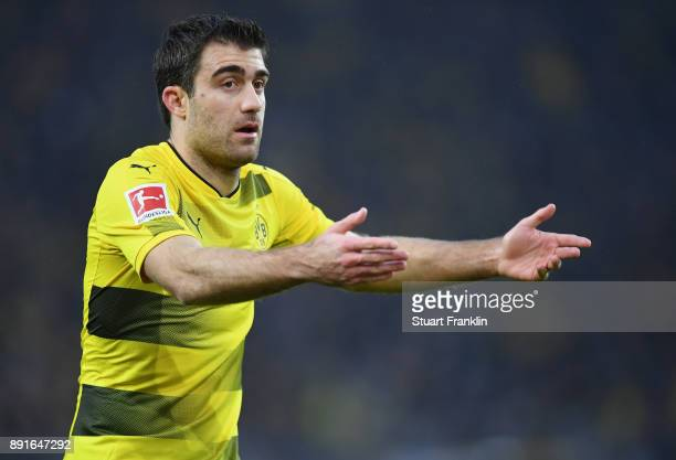 Sokratis Papastathopoulos of Dortmund gestures during the Bundesliga match between Borussia Dortmund and SV Werder Bremen at Signal Iduna Park on...