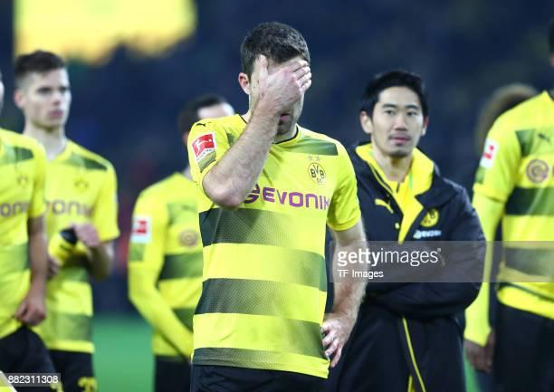 Sokratis Papastathopoulos of Dortmund looks dejected during the Bundesliga match between Borussia Dortmund and FC Schalke 04 at Signal Iduna Park on...