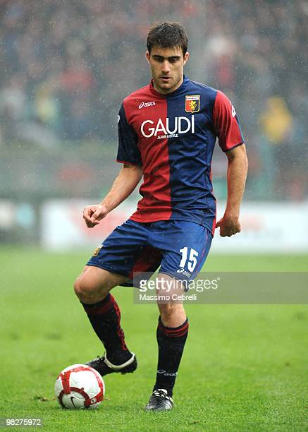 Sokratis Papastathopoulos of Genoa CFC in action during the Serie A match between Genoa CFC and AS Livorno Calcio at Stadio Luigi Ferraris on April 3...