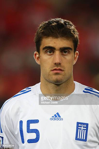 Sokratis Papastathopoulos of Greece during the FIFA 2010 World Cup Qualifying Group 2 match between Switzerland and Greece at the StJakobPark Stadium...