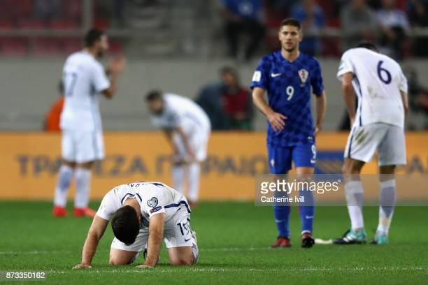 Sokratis Papastathopoulos of Greece looks dejected following the FIFA 2018 World Cup Qualifier PlayOff Second Leg between Greece and Croatia at...