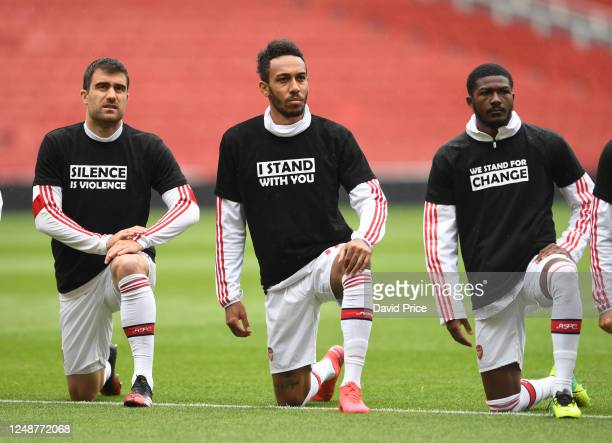 Sokratis PierreEmerick Aubameyang and Ainsley MaitlandNiles of Arsenal take a knee in support of Black Lives Matter before the friendly match between...