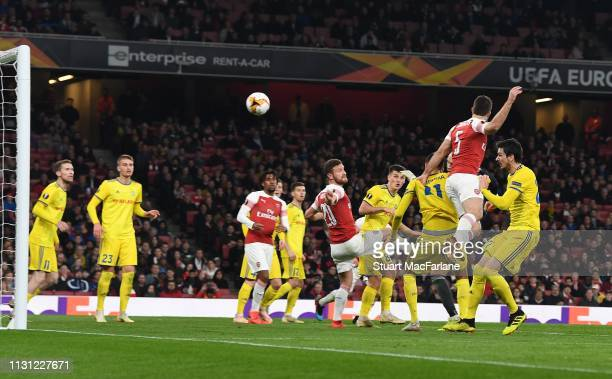 Sokratis scores the 3rd Arsenal goal during the UEFA Europa League Round of 32 Second Leg match between Arsenal and BATE Borisov at England on...