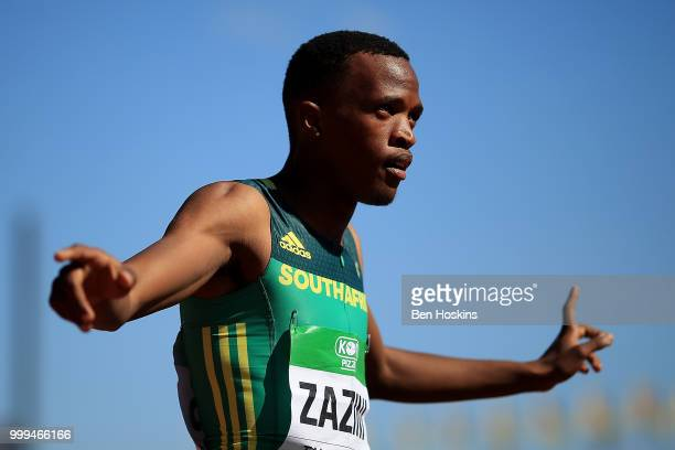 Sokwakhana Zazini of South Africa celebrates after winning gold in the final of the mens 400m hurdles on day five of The IAAF World U20 Championships...