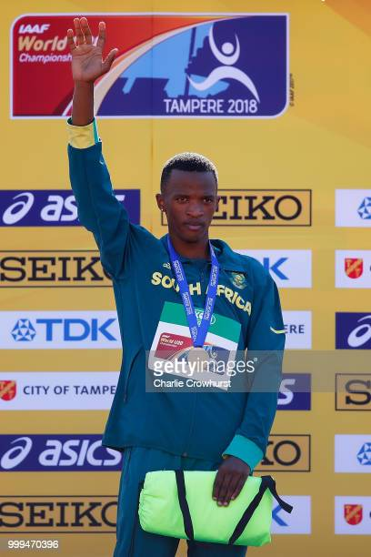 Sokwakhana Zazini of South Africa celebrates with his medal during the medal ceremony for the mens 400m hurdles on day five of The IAAF World U20...