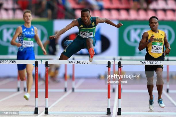 Sokwakhana Zazini of South Africa in action during heat 3 of the men's 400m hurdles semi finals on day four of The IAAF World U20 Championships on...