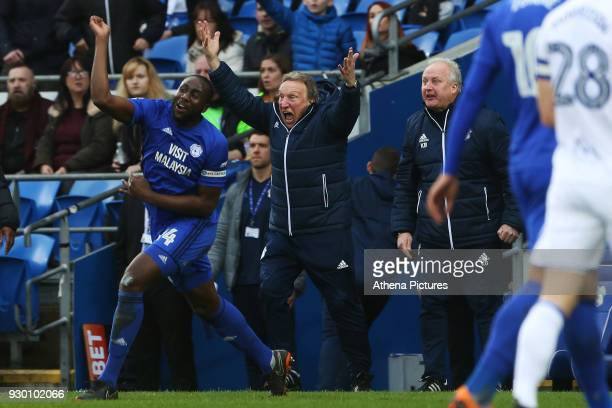 Sol Bamba and Cardiff City manager Neil Warnock protests after a foul on Junior Hoilett of Cardiff City during the Sky Bet Championship match between...