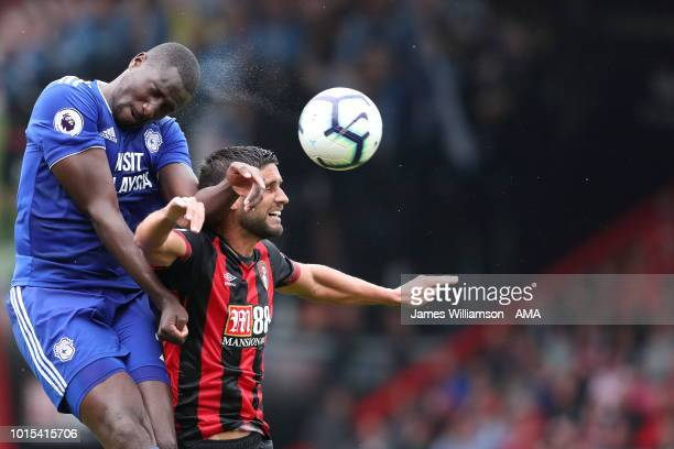 Sol Bamba of Cardiff City and Andrew Surman of Bournemouth during the Premier League match between AFC Bournemouth and Cardiff City at Vitality...