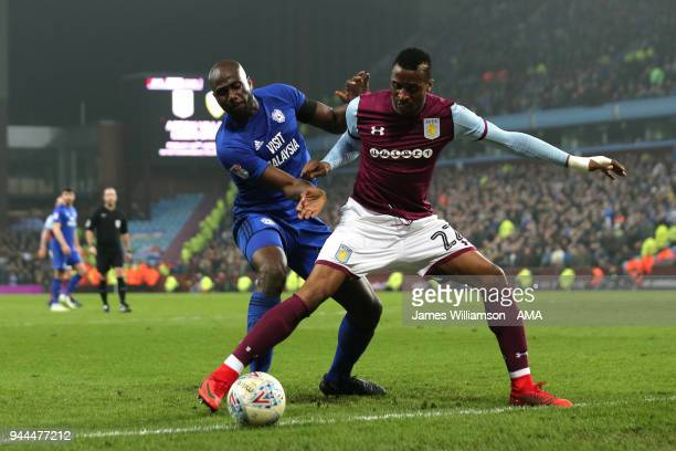 Sol Bamba of Cardiff City and Jonathan Kodjia of Aston Villa during the Sky Bet Championship match between Aston Villa v Cardiff City at Villa Park...