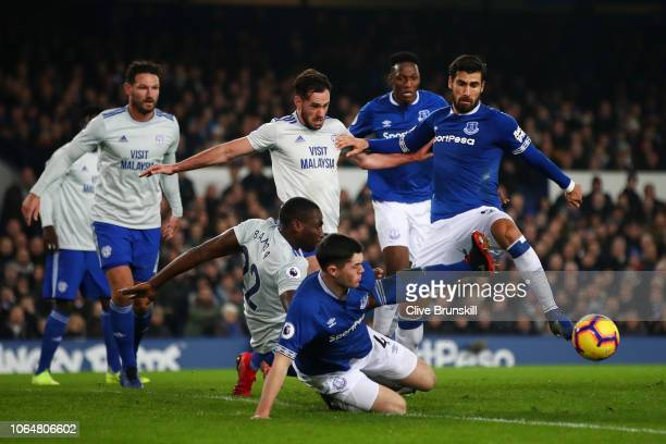Sol Bamba of Cardiff City and Michael Keane of Everton clash during the Premier League match between Everton FC and Cardiff City at Goodison Park on...
