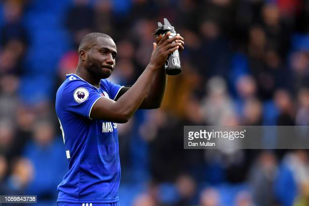 Sol Bamba of Cardiff City applauds fans after the Premier League match between Cardiff City and Brighton Hove Albion at the Cardiff City Stadium on...