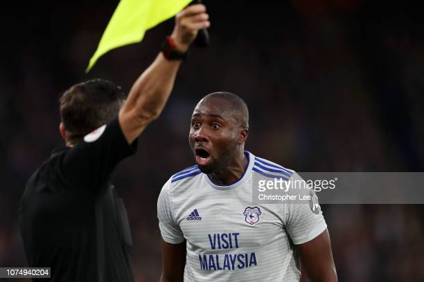 Sol Bamba of Cardiff City argues with the assistant referee during the Premier League match between Crystal Palace and Cardiff City at Selhurst Park...