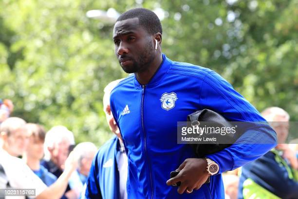 Sol Bamba of Cardiff City arrives ahead of the Premier League match between Huddersfield Town and Cardiff City at John Smith's Stadium on August 25...