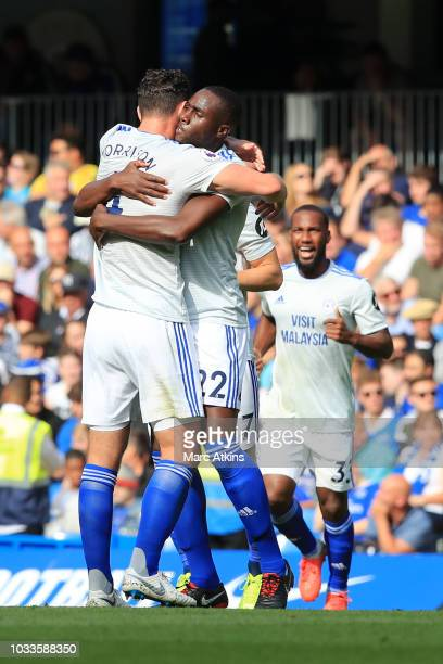Sol Bamba of Cardiff City celebrates after scoring his team's first goal with team mate Sean Morrison of Cardiff City during the Premier League match...