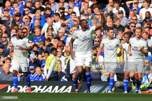 Sol Bamba of Cardiff City celebrates after scoring his team's first goal during the Premier League match between Chelsea FC and Cardiff City at...