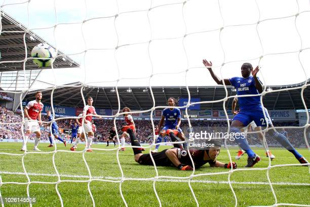 Sol Bamba of Cardiff City celebrates as Danny Ward of Cardiff City scores his team's second goal past Petr Cech of Arsenal during the Premier League...