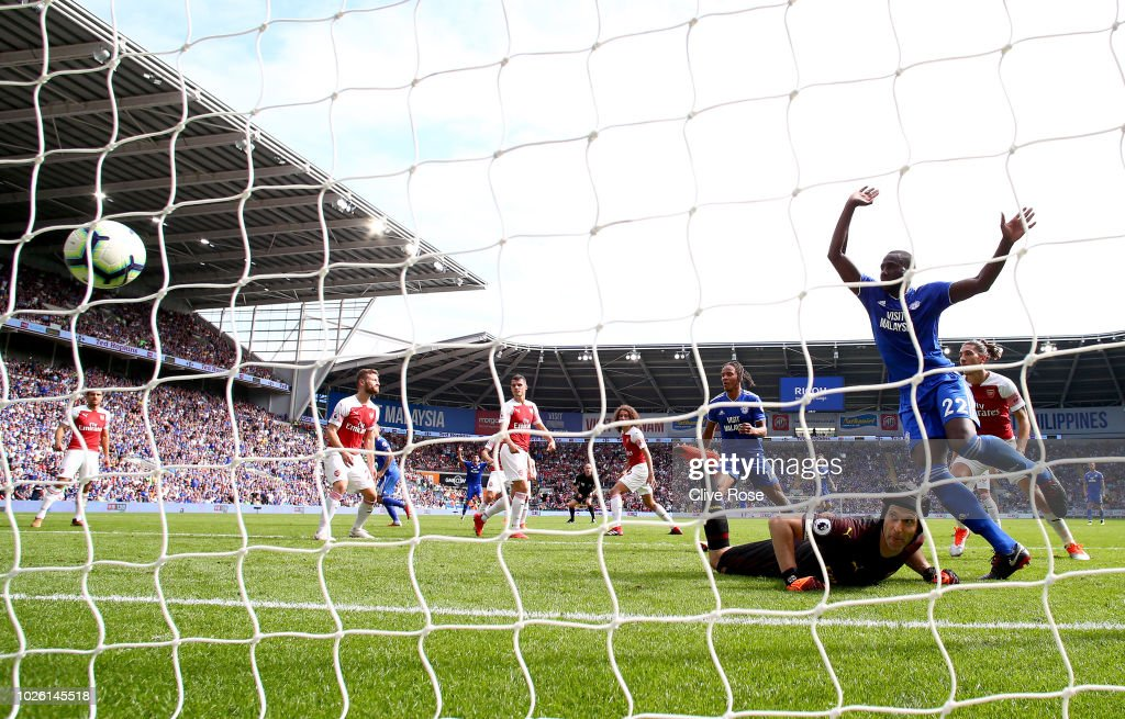 Sol Bamba of Cardiff City celebrates as Danny Ward of Cardiff City (not pictured) scores his team's second goal past Petr Cech of Arsenal during the Premier League match between Cardiff City and Arsenal FC at Cardiff City Stadium on September 2, 2018 in Cardiff, United Kingdom.