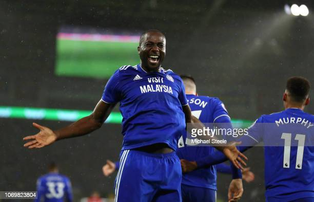 Sol Bamba of Cardiff City celebrates his sides first goal during the Premier League match between Cardiff City and Southampton FC at Cardiff City...