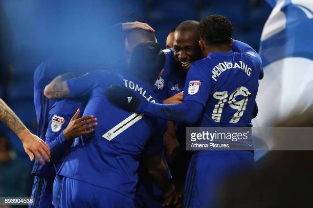 Sol Bamba of Cardiff City celebrates scoring his sides first goal of the match during the Sky Bet Championship match between Cardiff City and Hull...